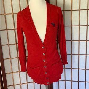 Red Abercrombie Cardigan